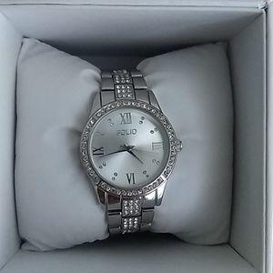 silver folio watch